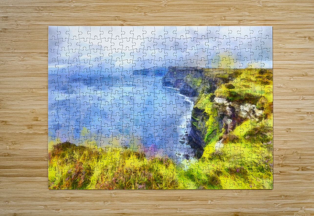 CLIFFS OF MOHER 1 WATERCOLOR  HD Metal print with Floating Frame on Back