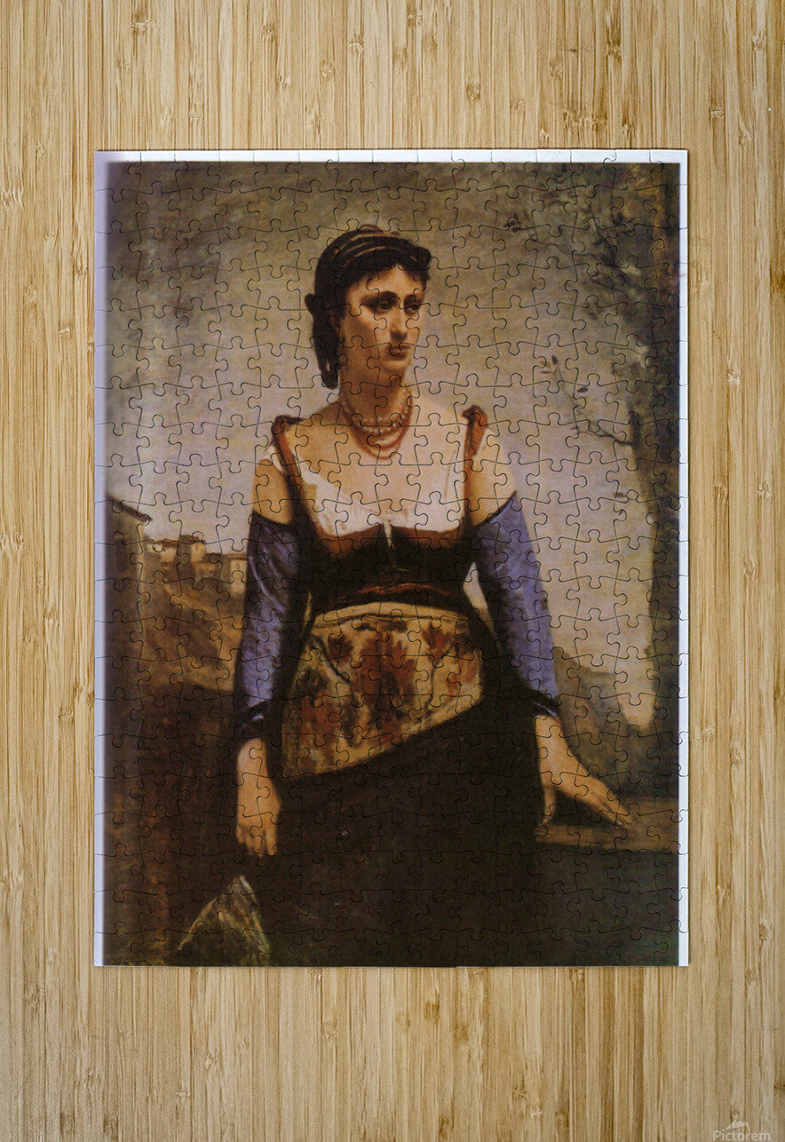 Agostina 1866 by Corot  HD Metal print with Floating Frame on Back