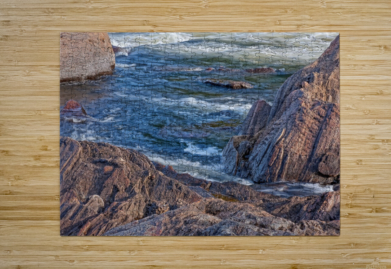 Rocky River Edge  HD Metal print with Floating Frame on Back