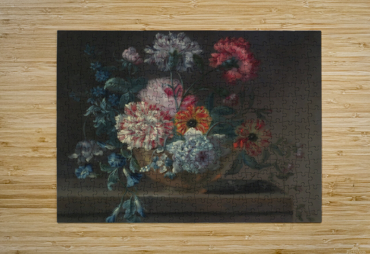 Still life of variegated carnations and other flowers on a ledge  HD Metal print with Floating Frame on Back