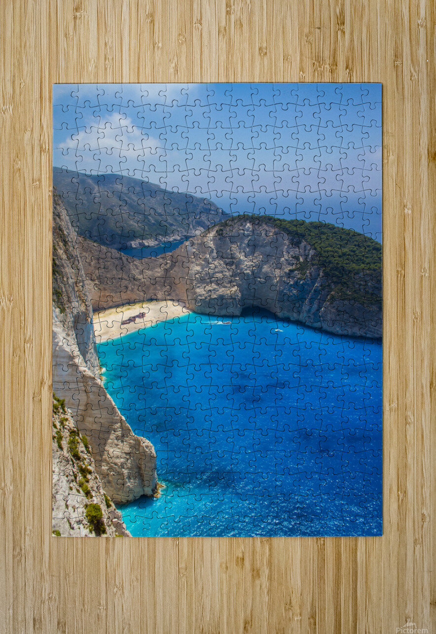 Navagio beach with shipwreck and flowers on Zakynthos island in Greece  HD Metal print with Floating Frame on Back