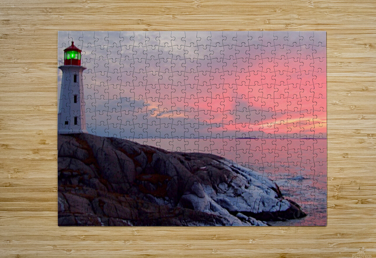 Peggys Cove Winter Sunset  HD Metal print with Floating Frame on Back