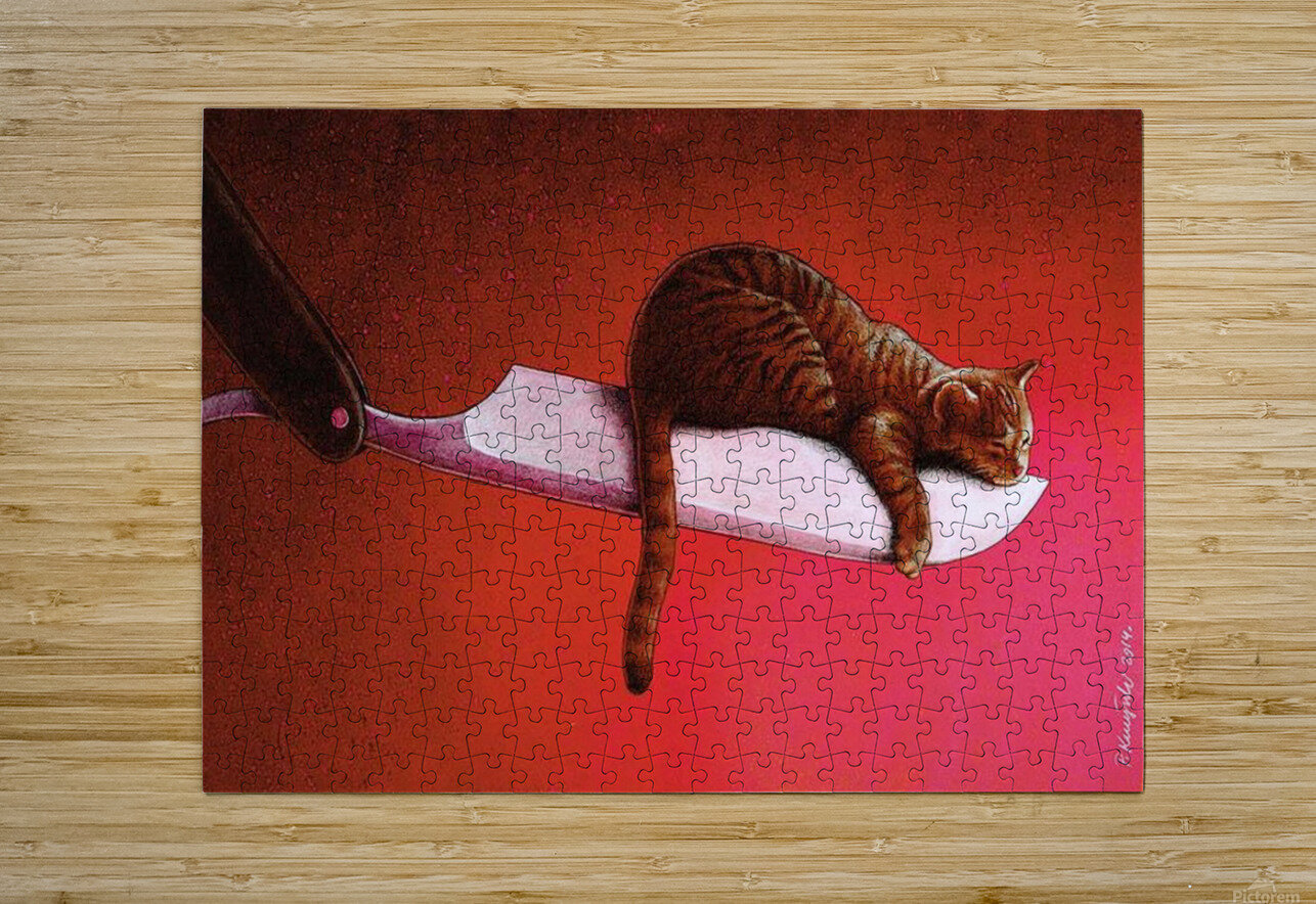 Razor  Cat  HD Metal print with Floating Frame on Back