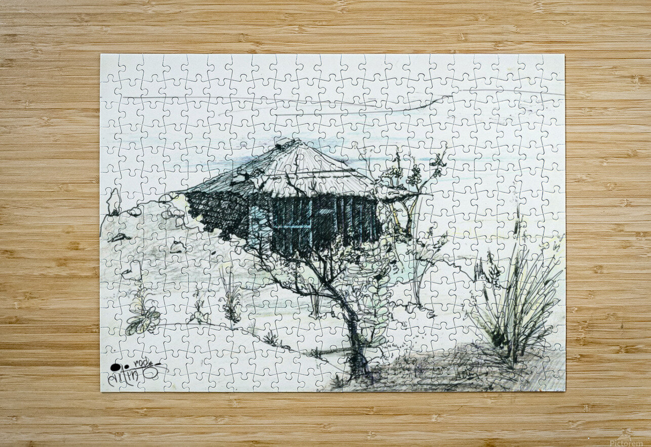 Hut on hill  HD Metal print with Floating Frame on Back