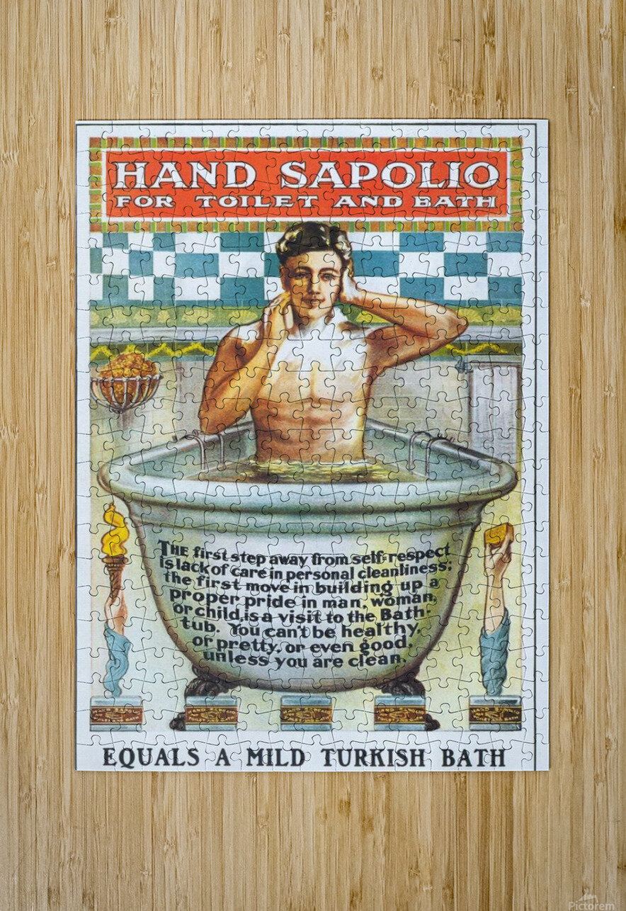 Sapolio Soap advertising poster  HD Metal print with Floating Frame on Back