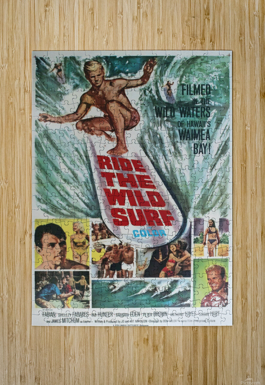 Original Vintage Surfing Movie Poster - Ride The Wild Surf  HD Metal print with Floating Frame on Back
