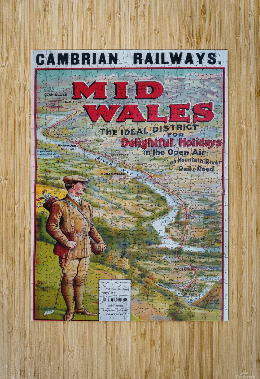 Original vintage poster golf Cambrian railways Mid Wales river  HD Metal print with Floating Frame on Back