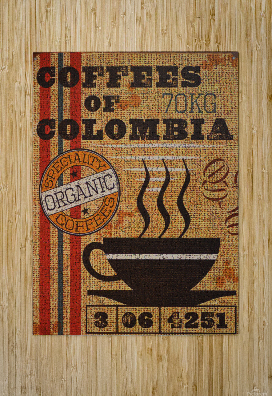 Colombian coffee vintage poster  HD Metal print with Floating Frame on Back
