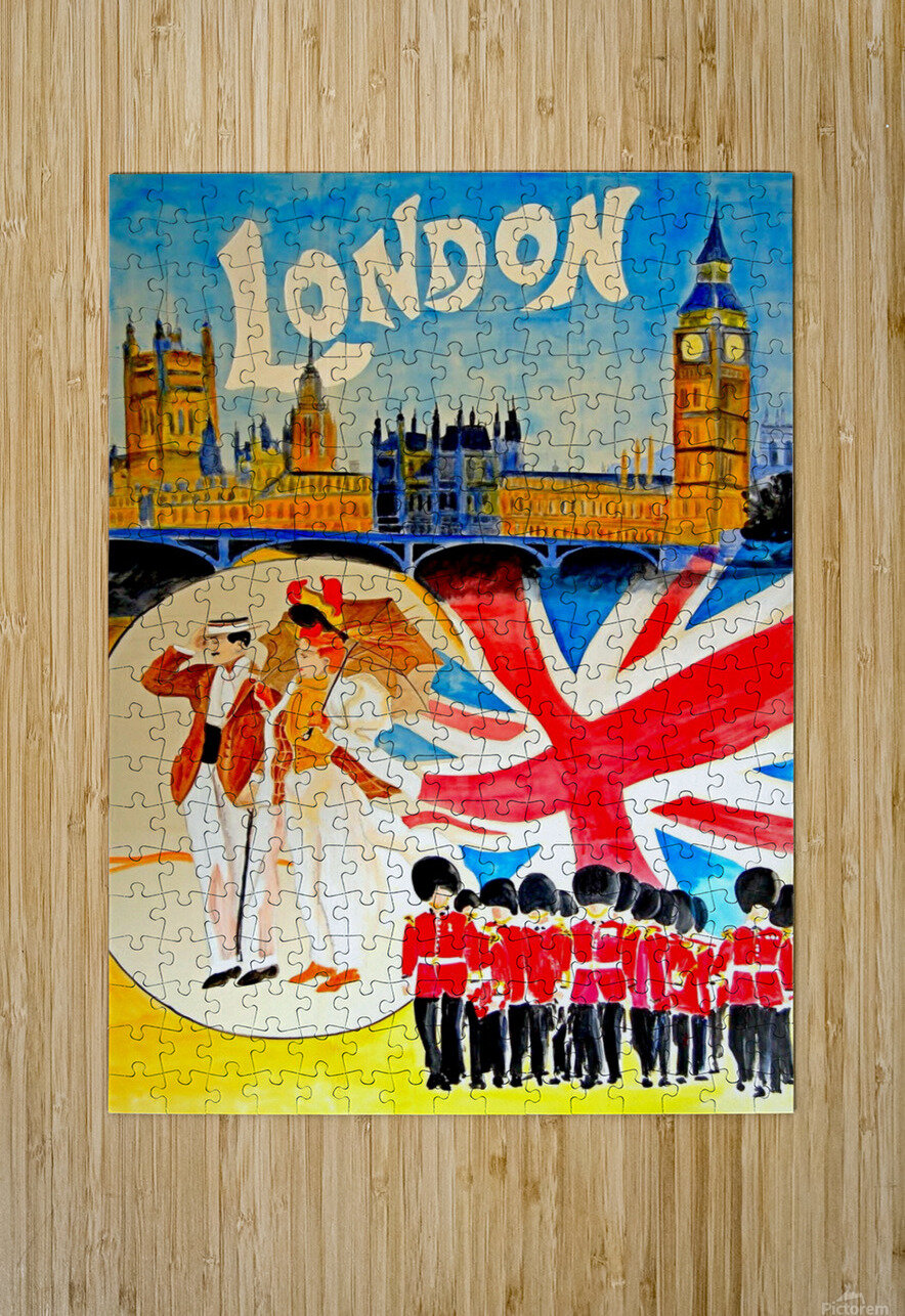 Vintage travel poster for London, England  HD Metal print with Floating Frame on Back