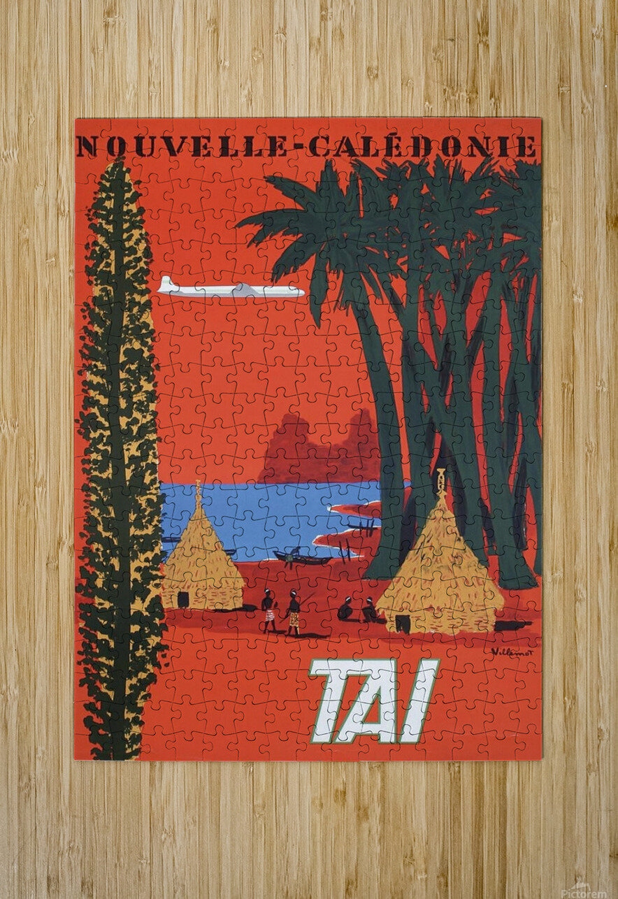Nouvelle Caledonie TAI vintage travel poster  HD Metal print with Floating Frame on Back
