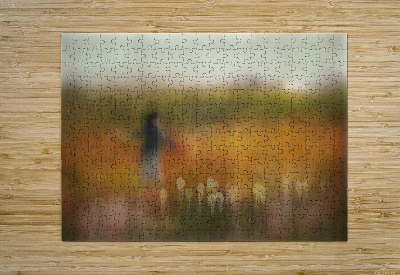 A Girl and Bear grass  HD Metal print with Floating Frame on Back