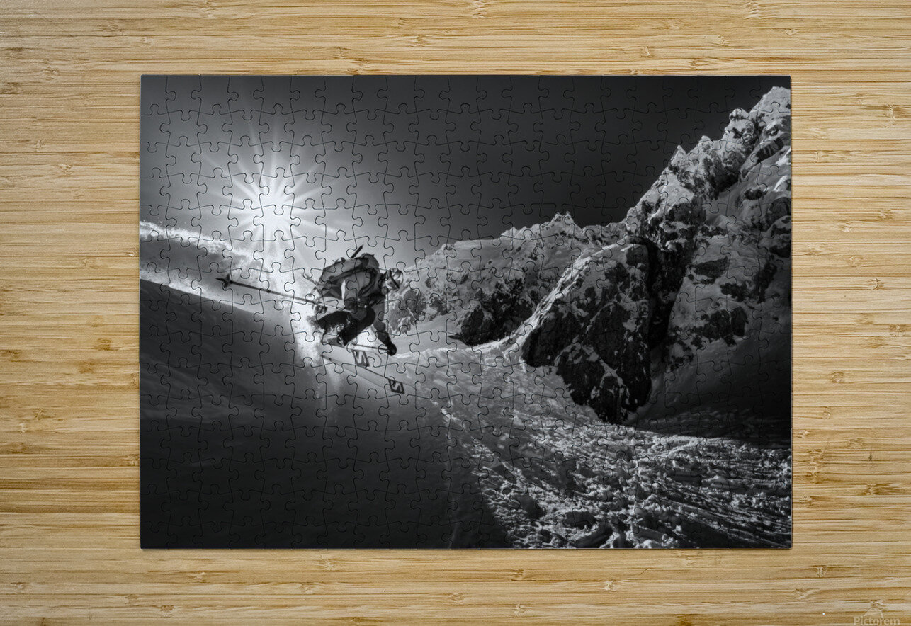 Snow splash over the edge  HD Metal print with Floating Frame on Back