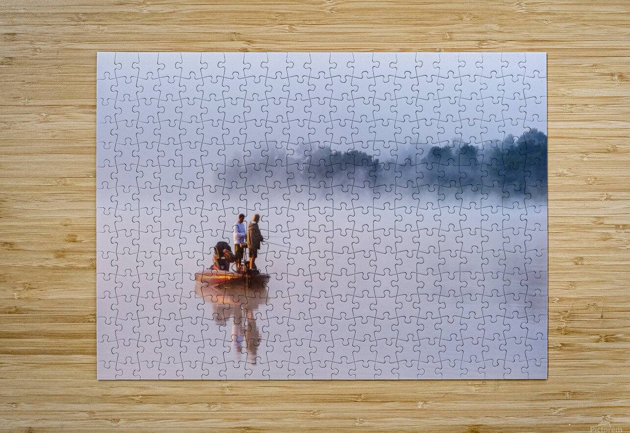 Fishing on Foggy Lake  HD Metal print with Floating Frame on Back