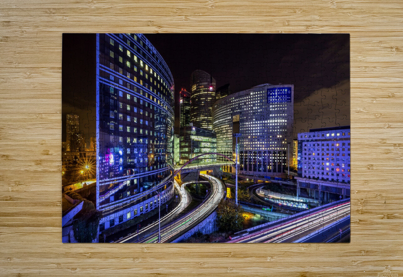 Night traffic  HD Metal print with Floating Frame on Back