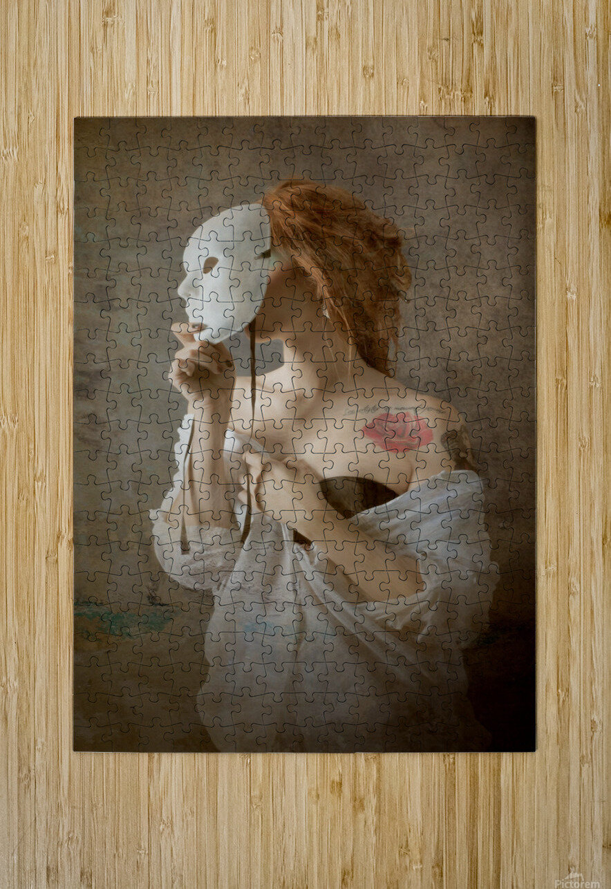 seeing through the mask  HD Metal print with Floating Frame on Back