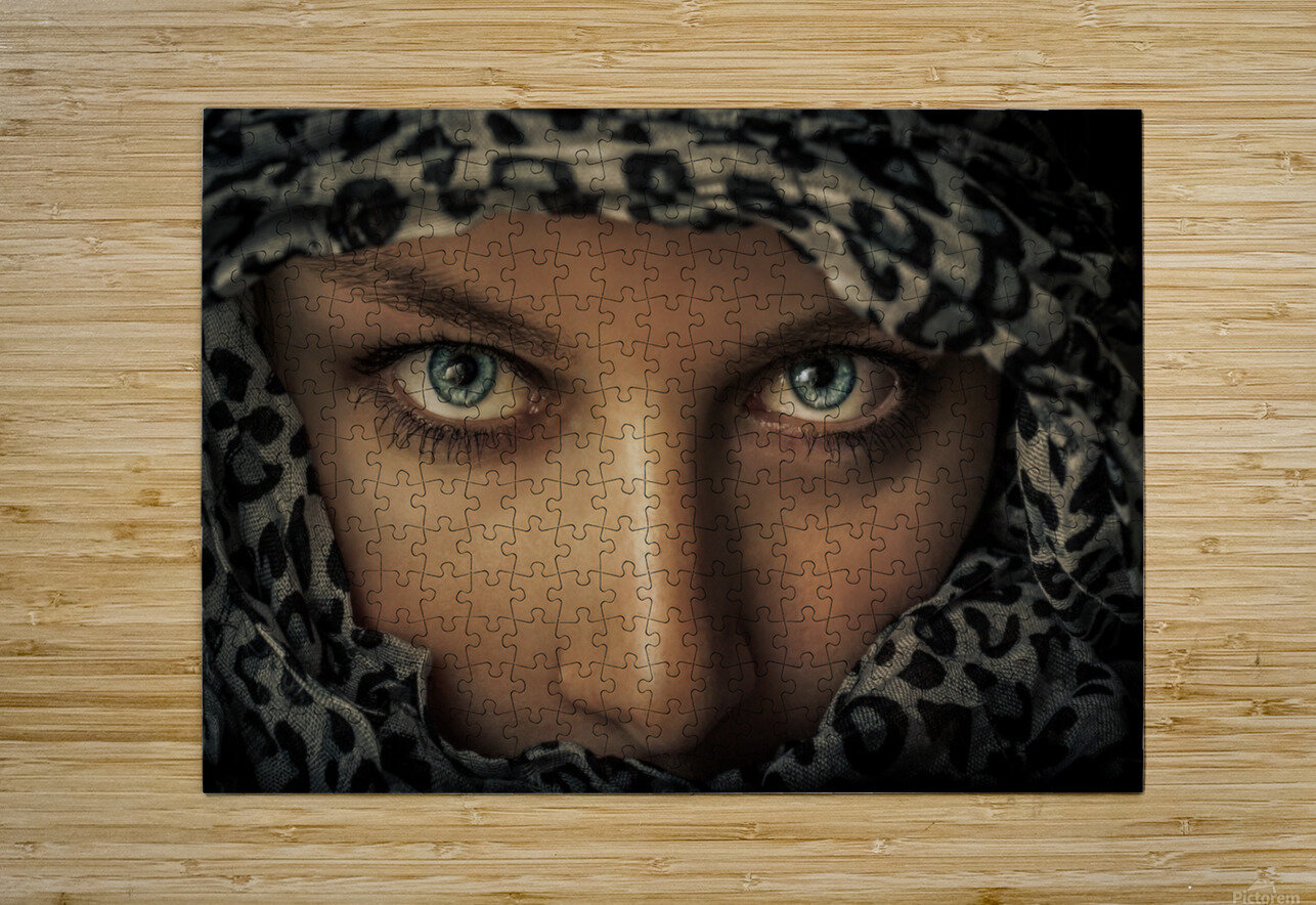 Woman with scarf  HD Metal print with Floating Frame on Back
