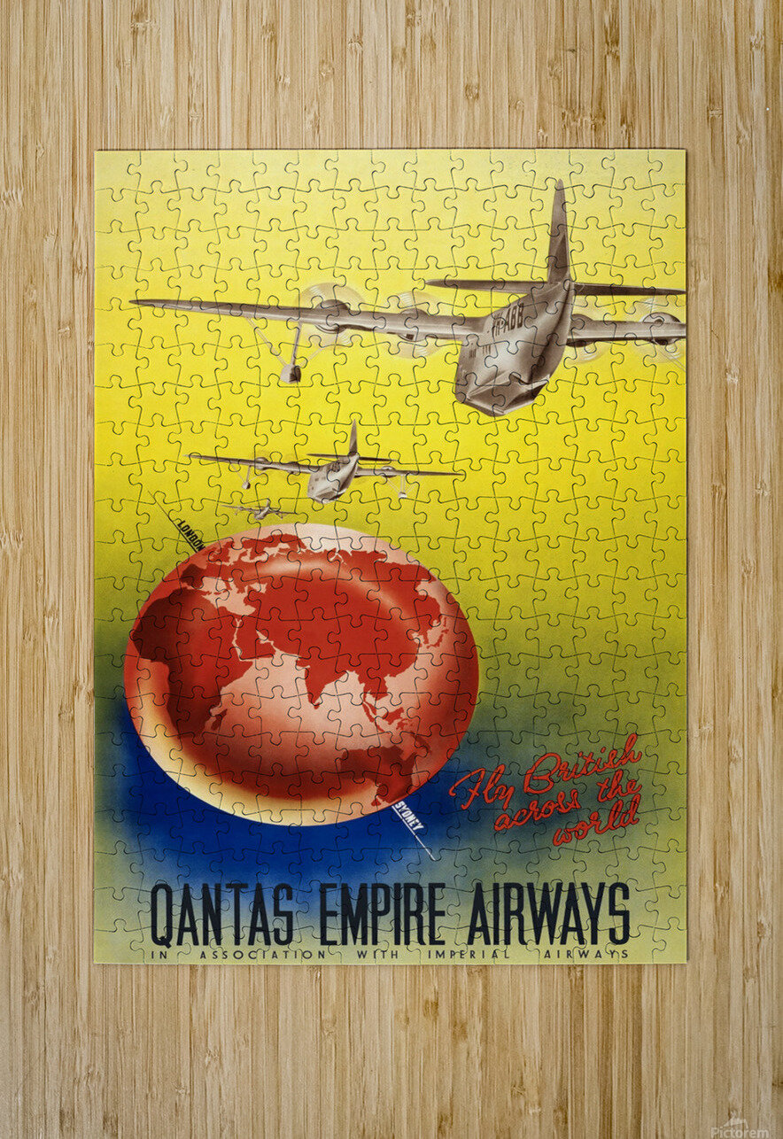 Qantas Empire Airways travel poster 1938  HD Metal print with Floating Frame on Back