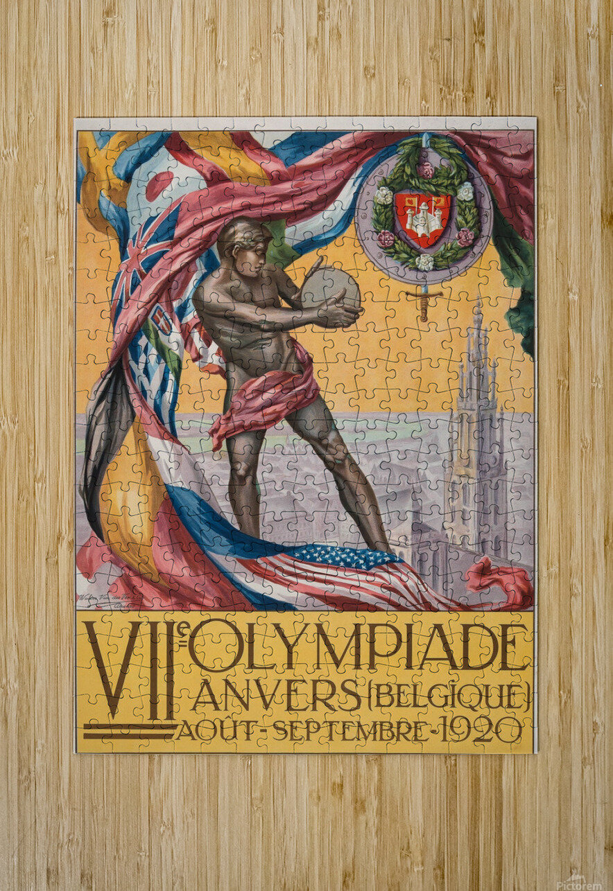 VII Olympiade, Anvers lithographic poster  HD Metal print with Floating Frame on Back
