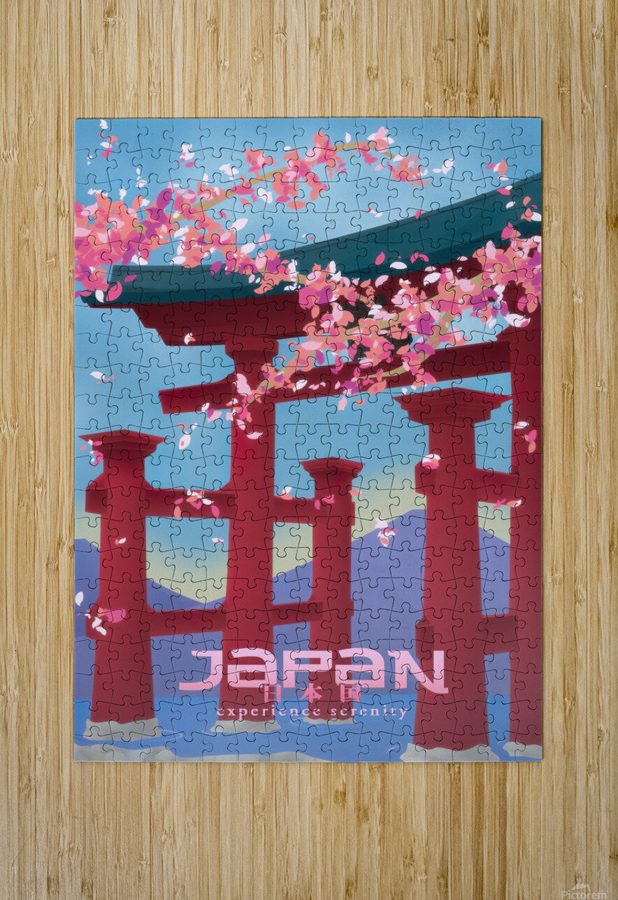 Japan Experience serenity travel poster  HD Metal print with Floating Frame on Back