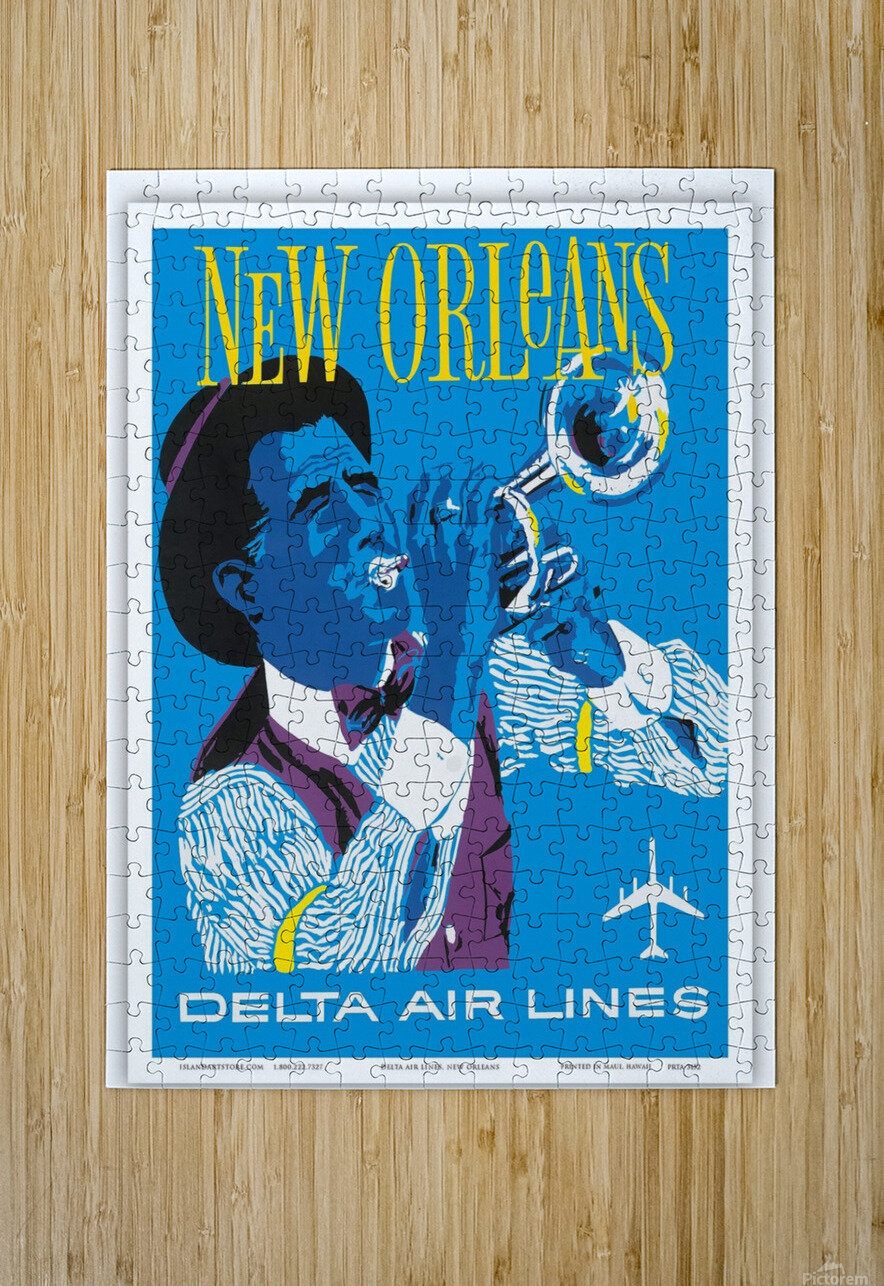 Delta Air Lines New Orleans USA Vintage Travel Poster  HD Metal print with Floating Frame on Back