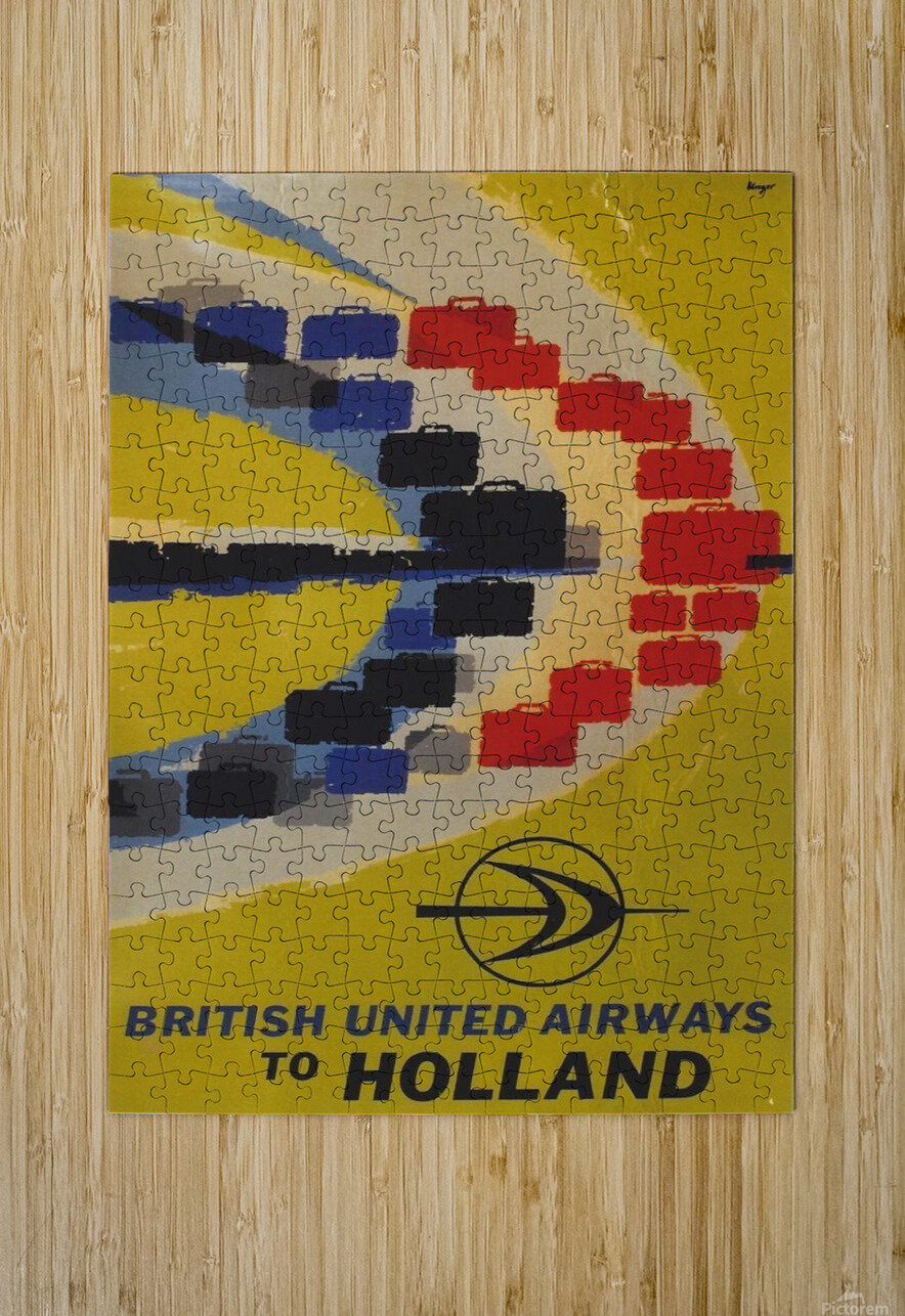 British United Airlines to Holland travel poster  HD Metal print with Floating Frame on Back