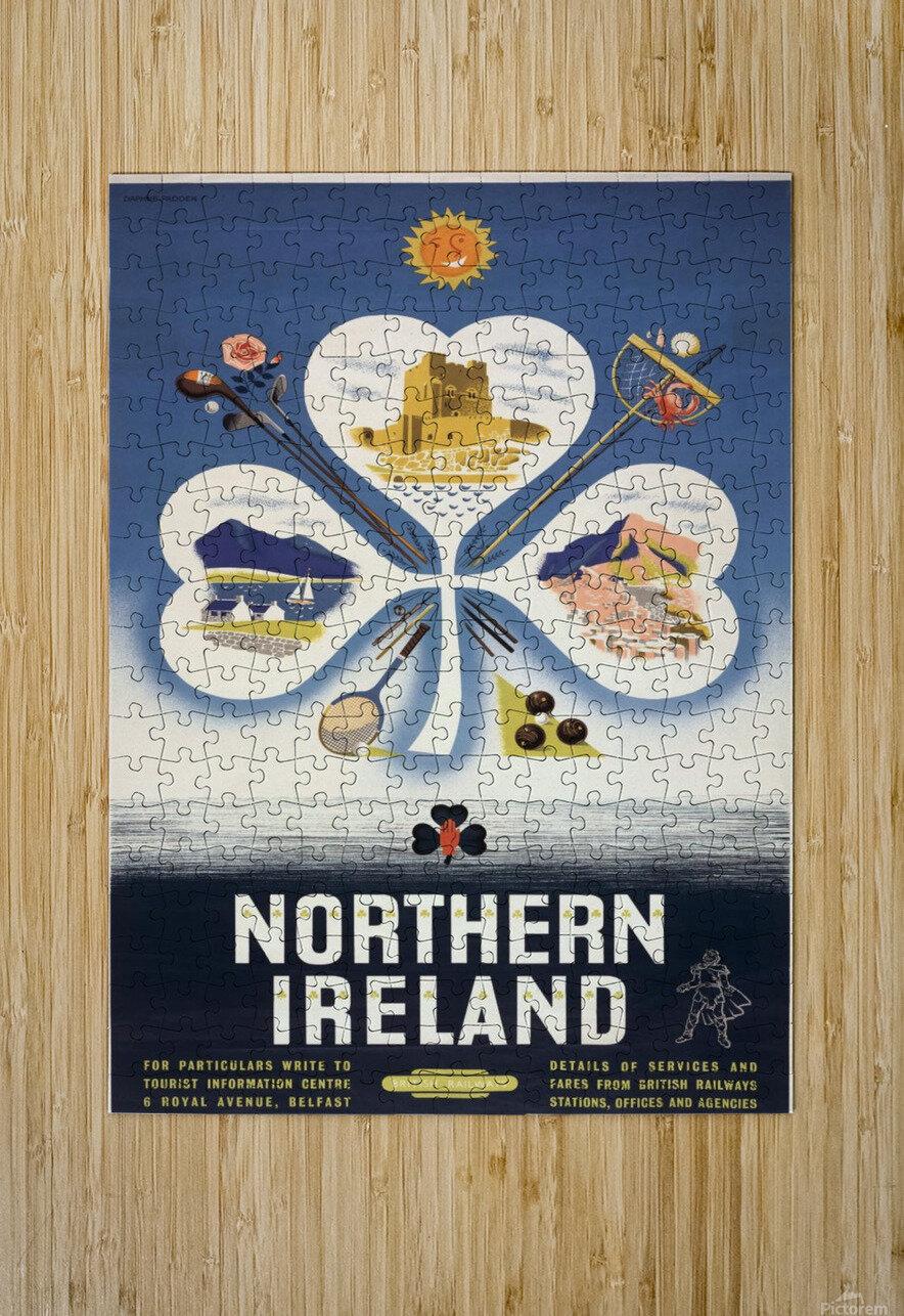 Vintage BR Irish Shamrock Travel poster  HD Metal print with Floating Frame on Back