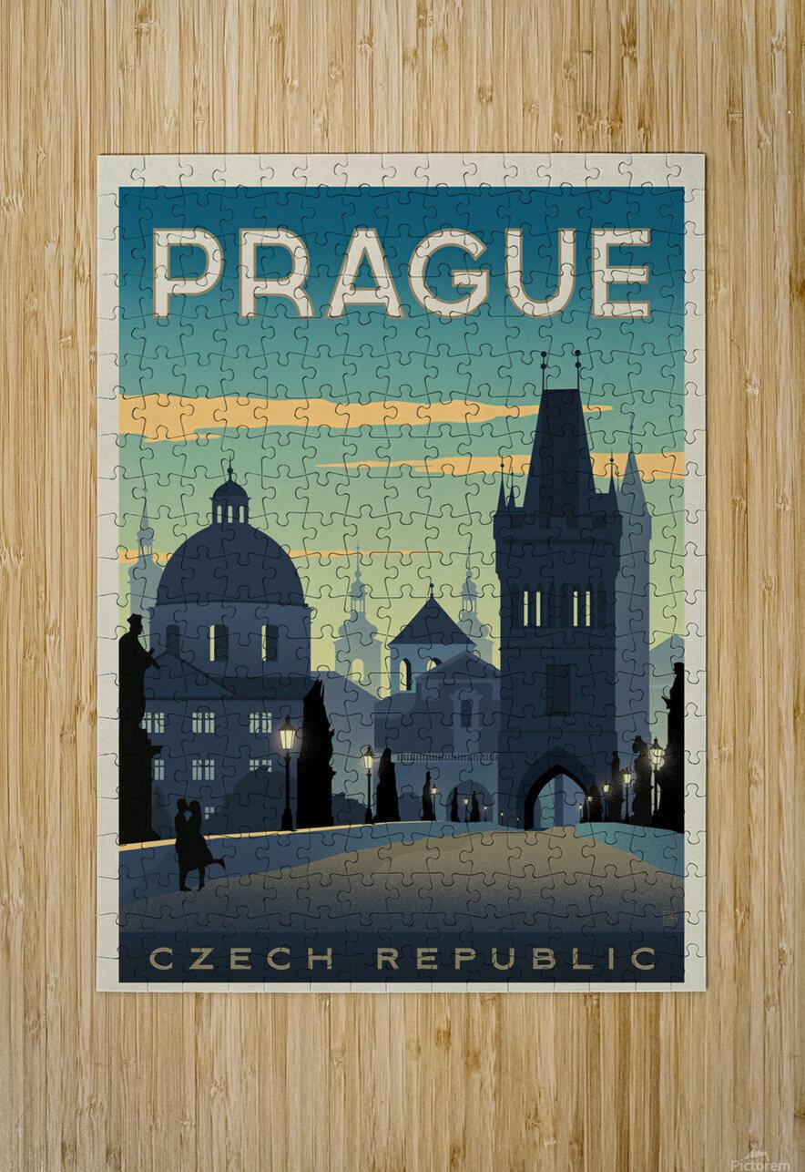 Prague vintage travel poster  HD Metal print with Floating Frame on Back