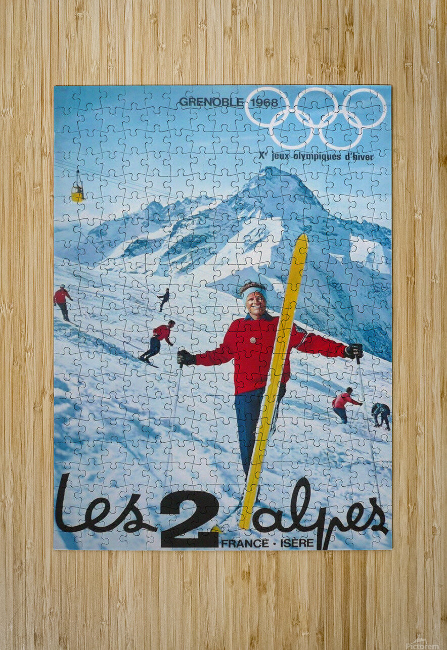Olimpiade-ski Klasik Vintage Poster  HD Metal print with Floating Frame on Back