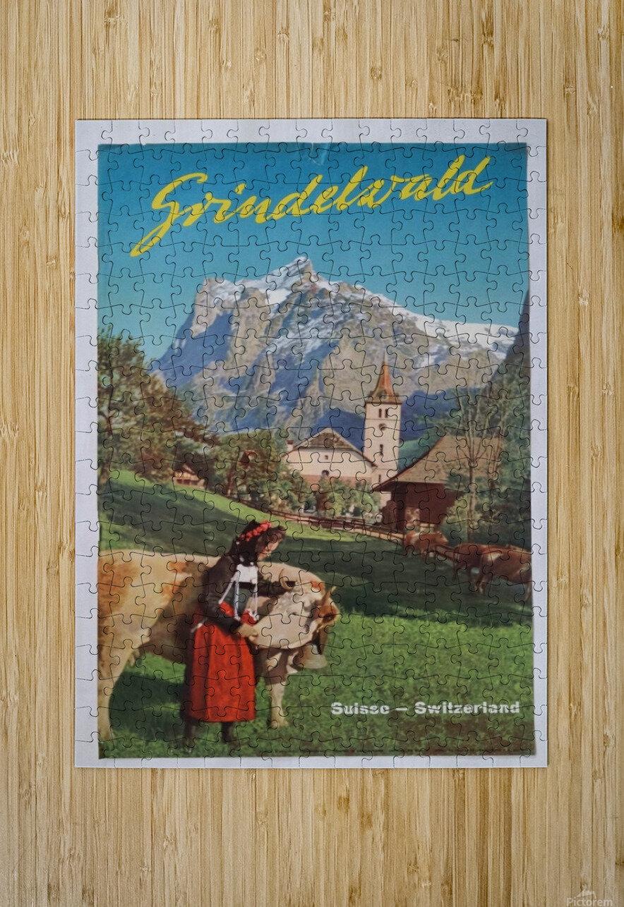 1960 Grindelwald Switzerland original vintage poster  HD Metal print with Floating Frame on Back