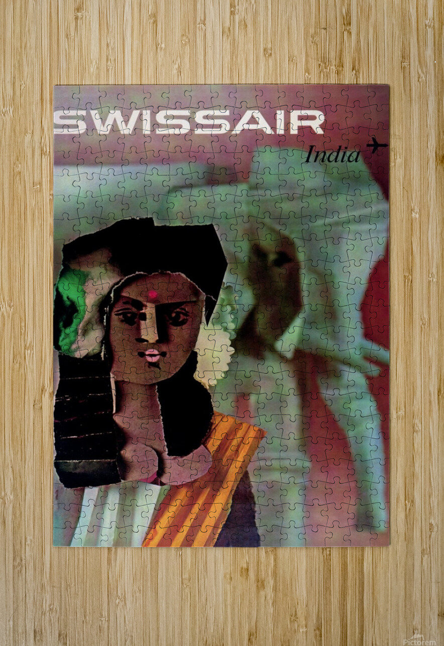 Swiss Air India Travel Art Poster  HD Metal print with Floating Frame on Back