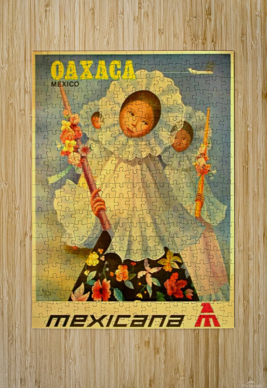 Oaxaca Mexico 1969 travel poster for Mexicana Airlines  HD Metal print with Floating Frame on Back