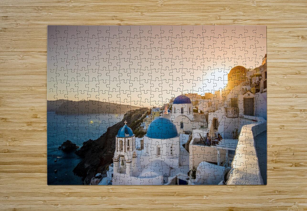 Coastal Oia  HD Metal print with Floating Frame on Back