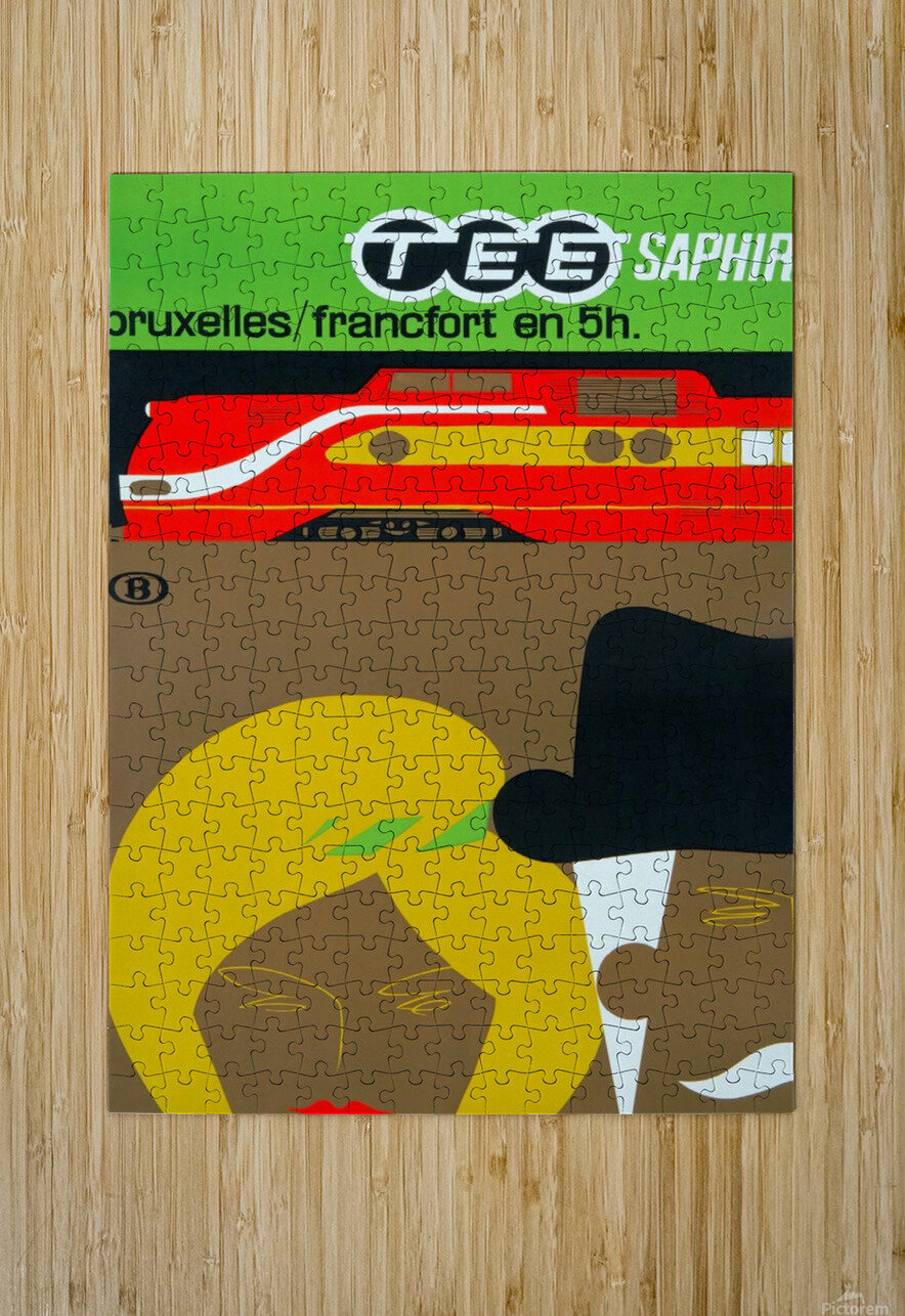 Affiche TEE Saphir, 1962  HD Metal print with Floating Frame on Back