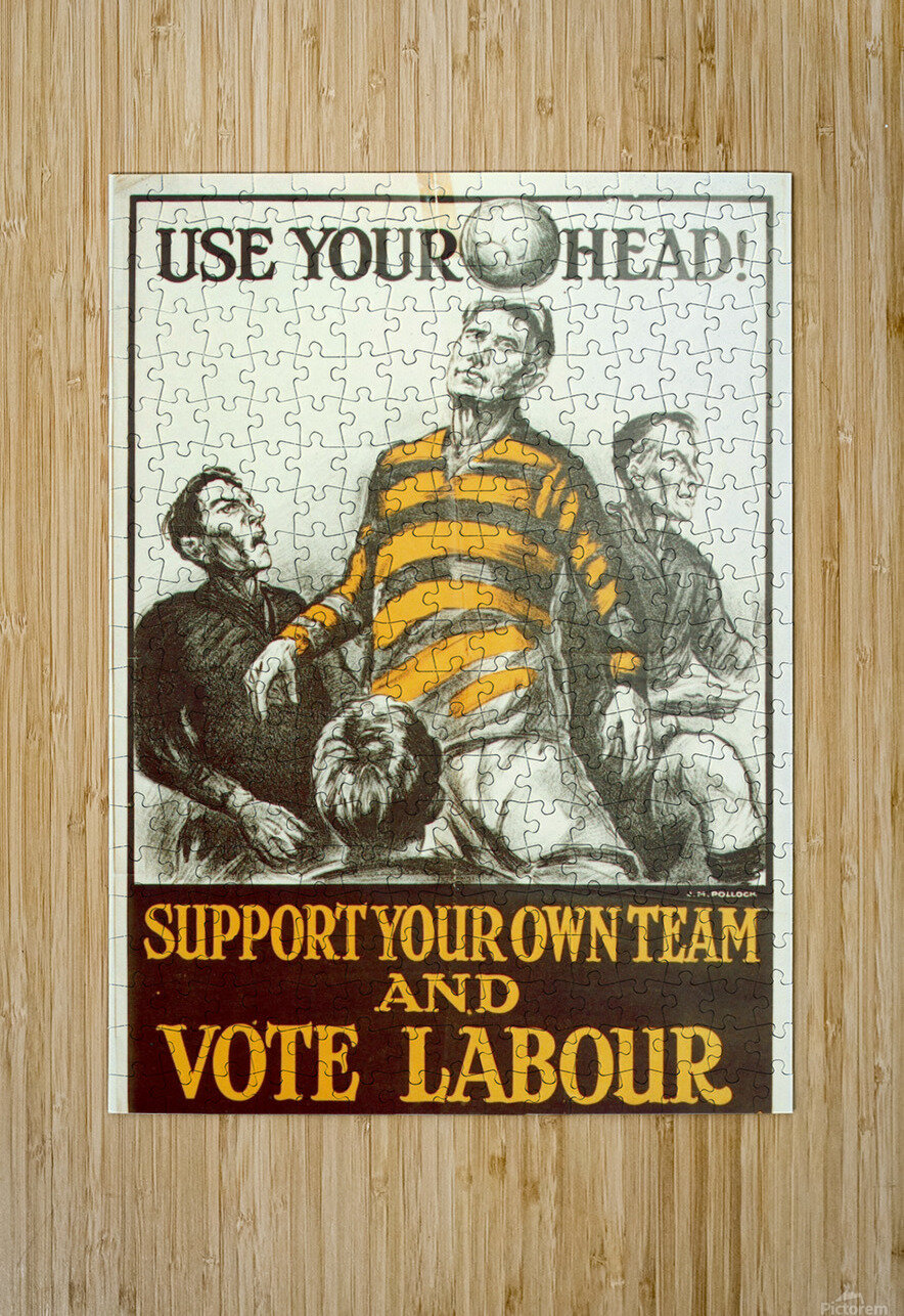 Labour Party Use Your Head 1923 poster  HD Metal print with Floating Frame on Back