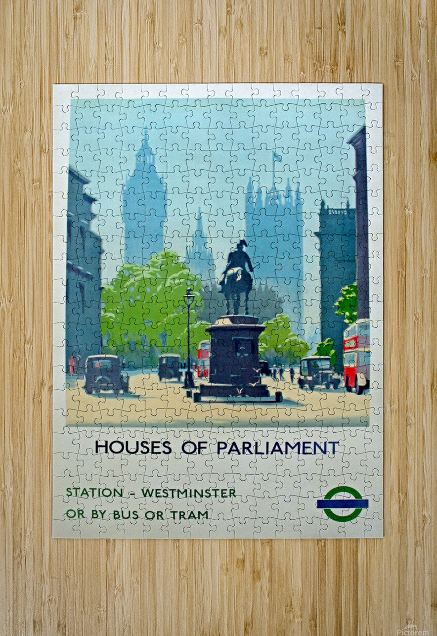 London Underground Houses of Parliament  HD Metal print with Floating Frame on Back