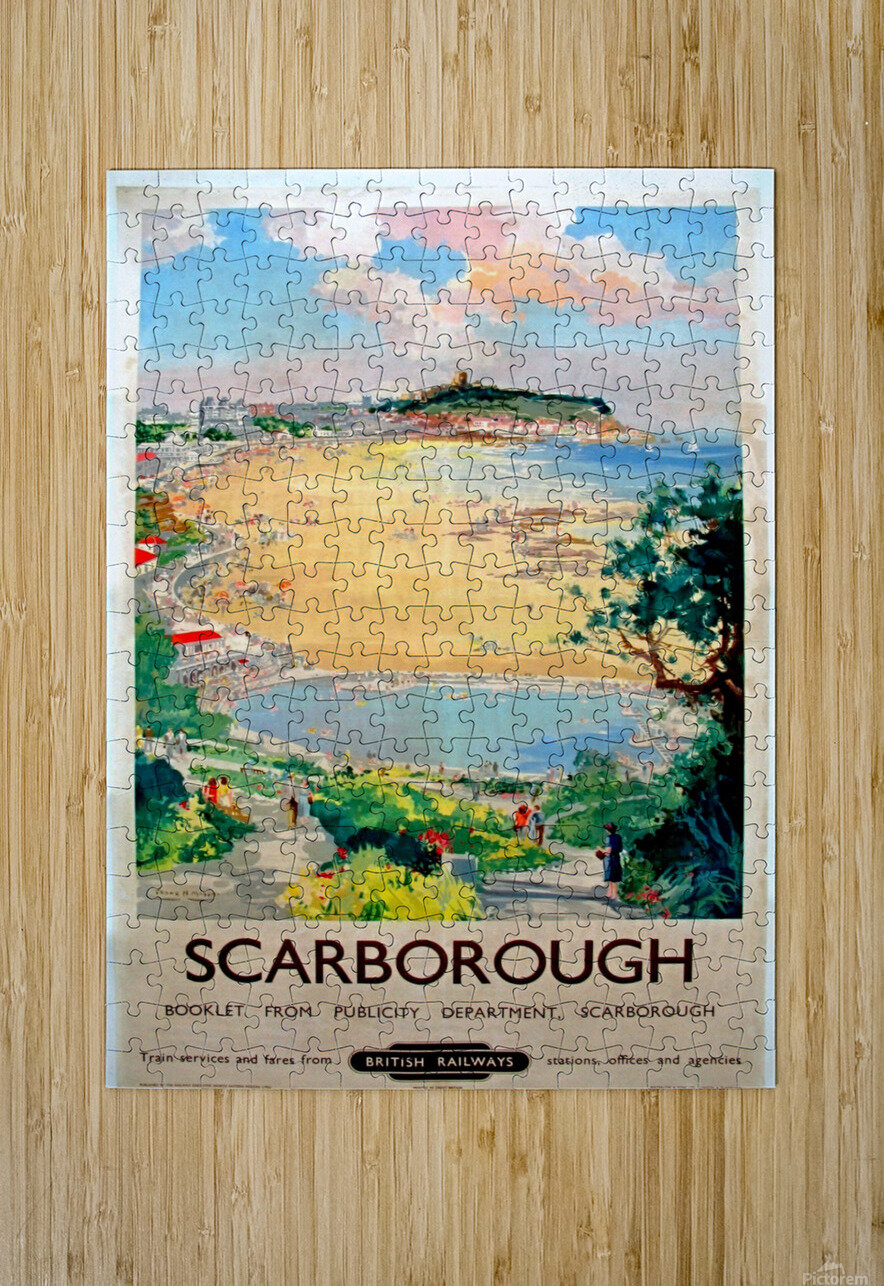 Original Railway Poster Scarborough  HD Metal print with Floating Frame on Back