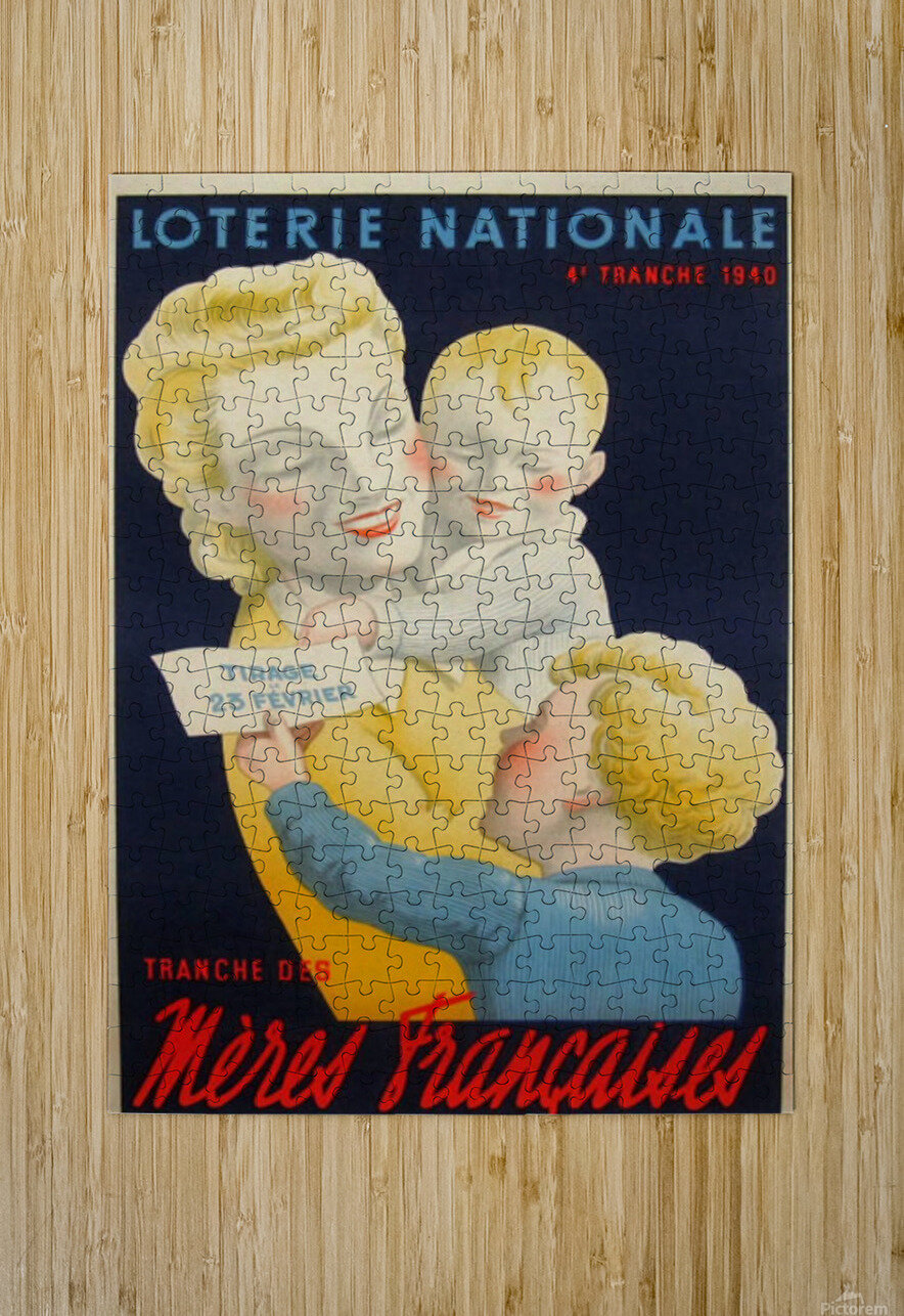 Loterie Nationale Tranche des Meres Francaises  HD Metal print with Floating Frame on Back