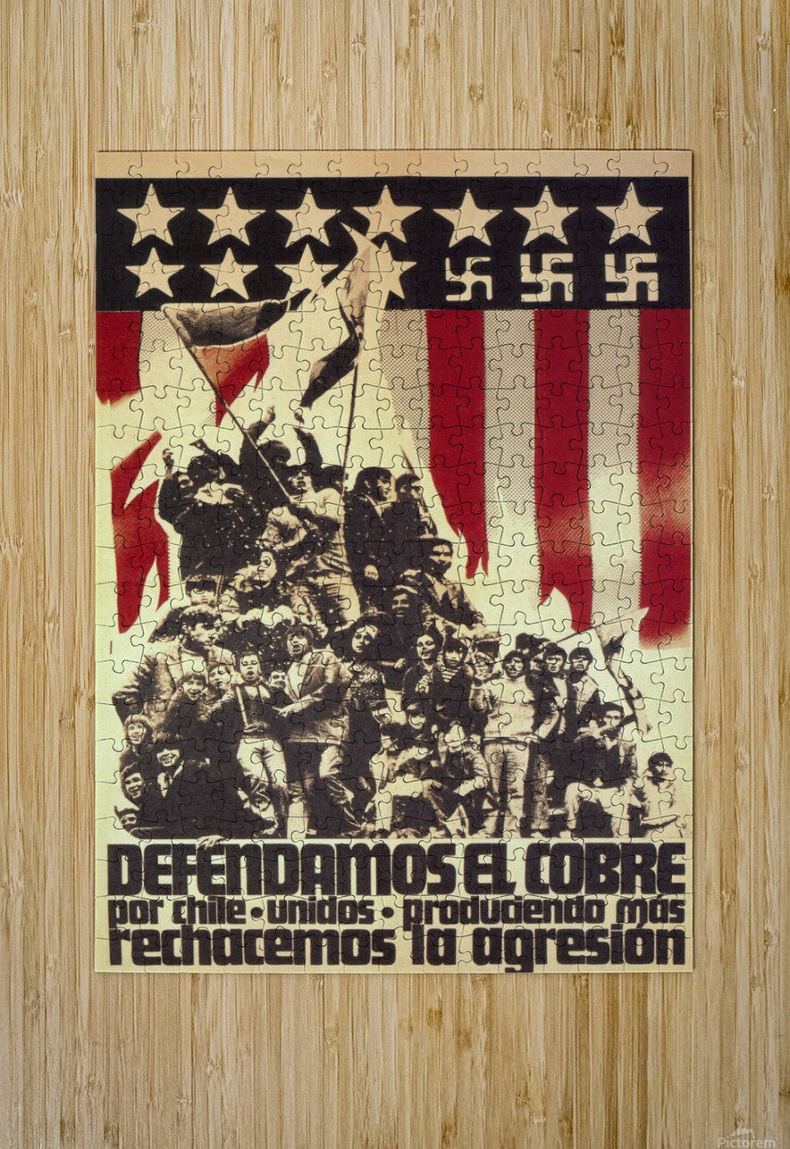 Defend Chile copper from the USA  HD Metal print with Floating Frame on Back