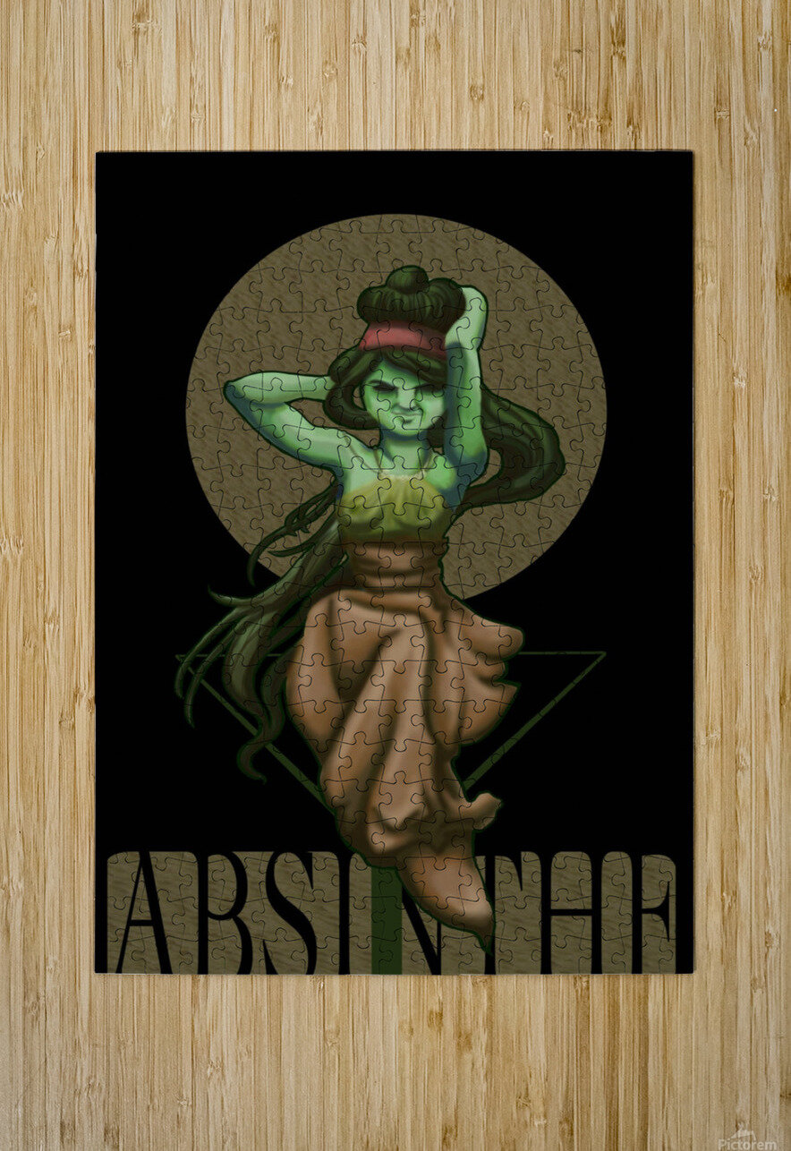 Green Fairy Absinthe Poster  HD Metal print with Floating Frame on Back
