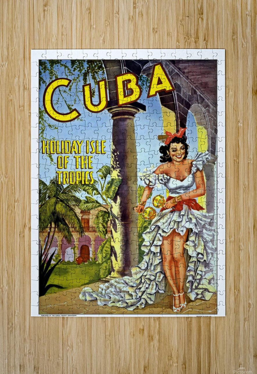 Cuba Holiday Isle of the Tropics poster  HD Metal print with Floating Frame on Back