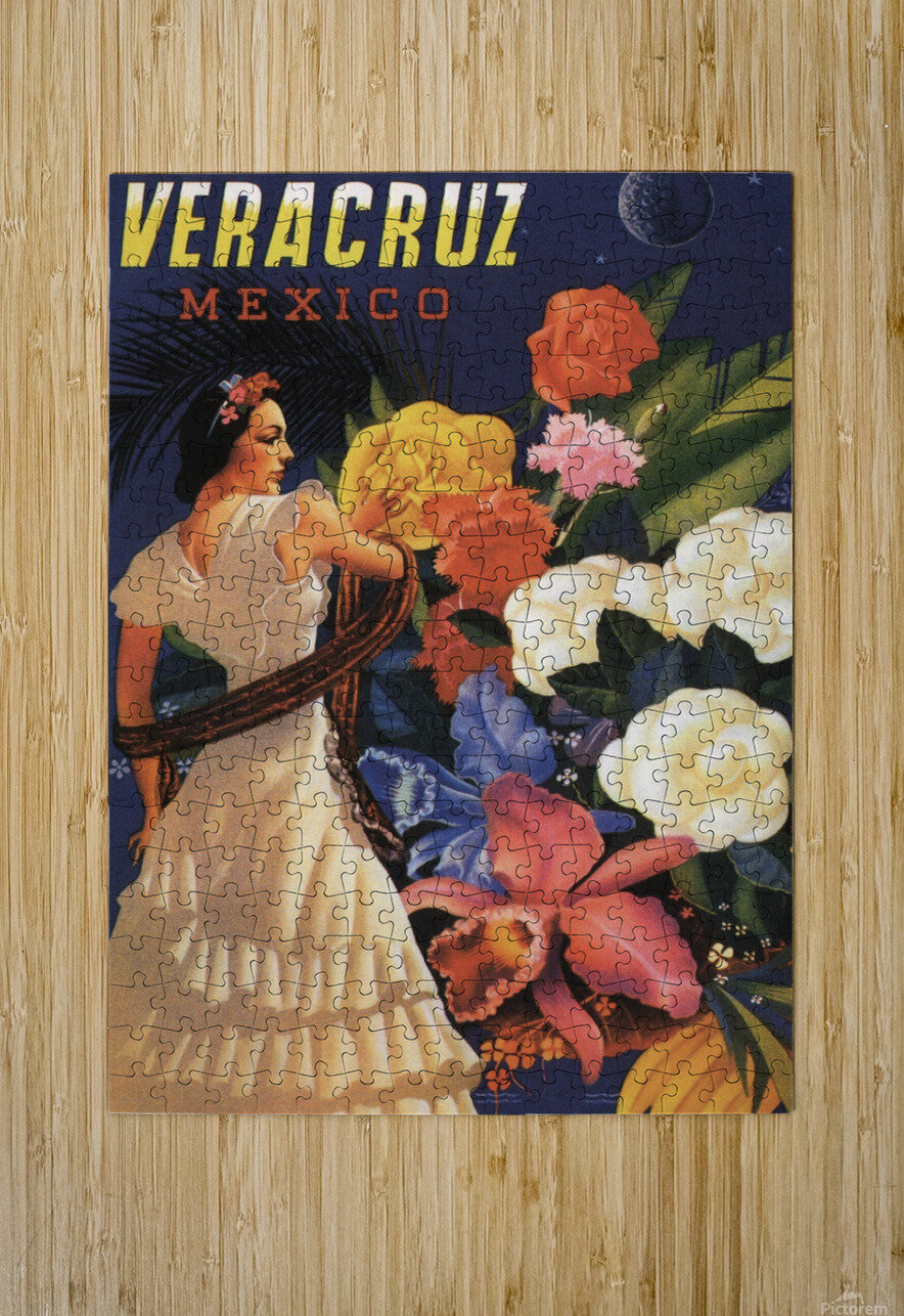 Veracruz Mexico Vintage Tourism Poster, 1940  HD Metal print with Floating Frame on Back