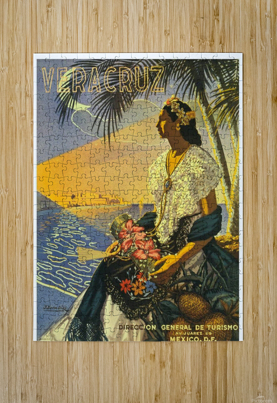 Mexico Veracruz vintage travel poster  HD Metal print with Floating Frame on Back