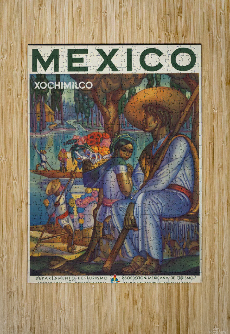 Mexico Xochimilco vintage poster  HD Metal print with Floating Frame on Back