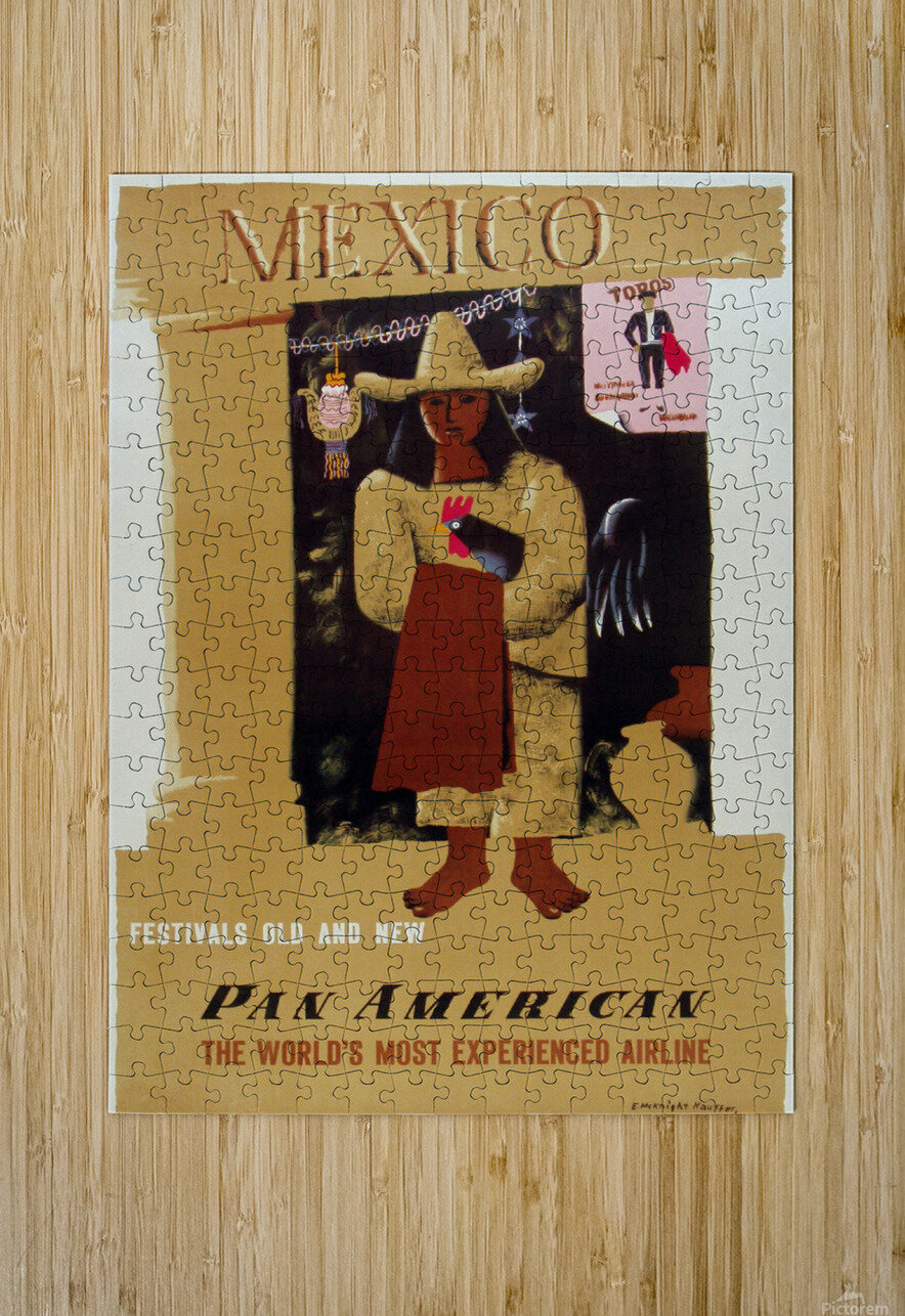 Mexico Pan American Poster  HD Metal print with Floating Frame on Back