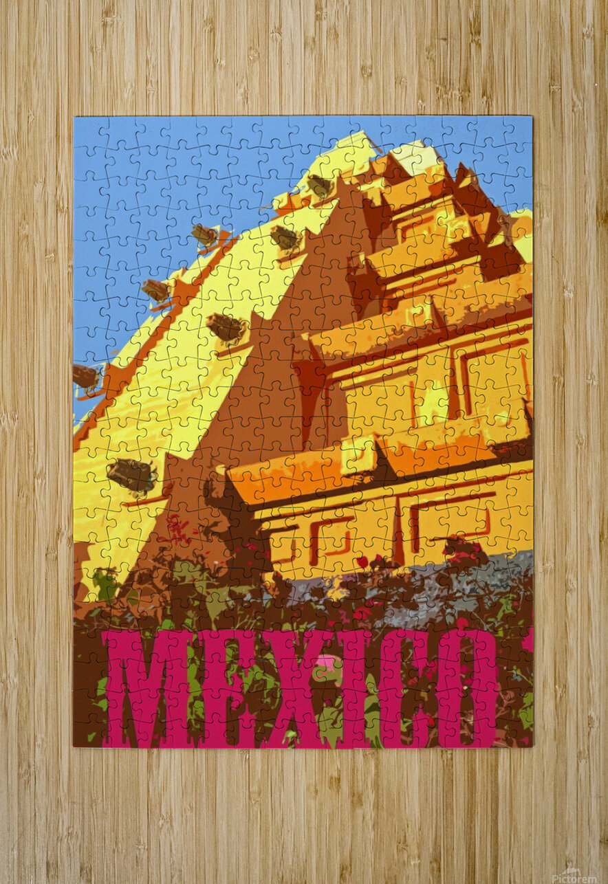 Mexico City vintage travel poster  HD Metal print with Floating Frame on Back