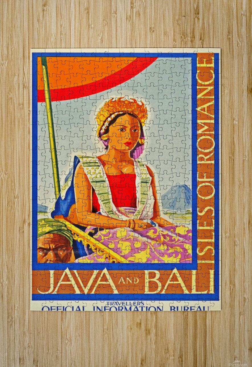 Java and Bali travel poster  HD Metal print with Floating Frame on Back
