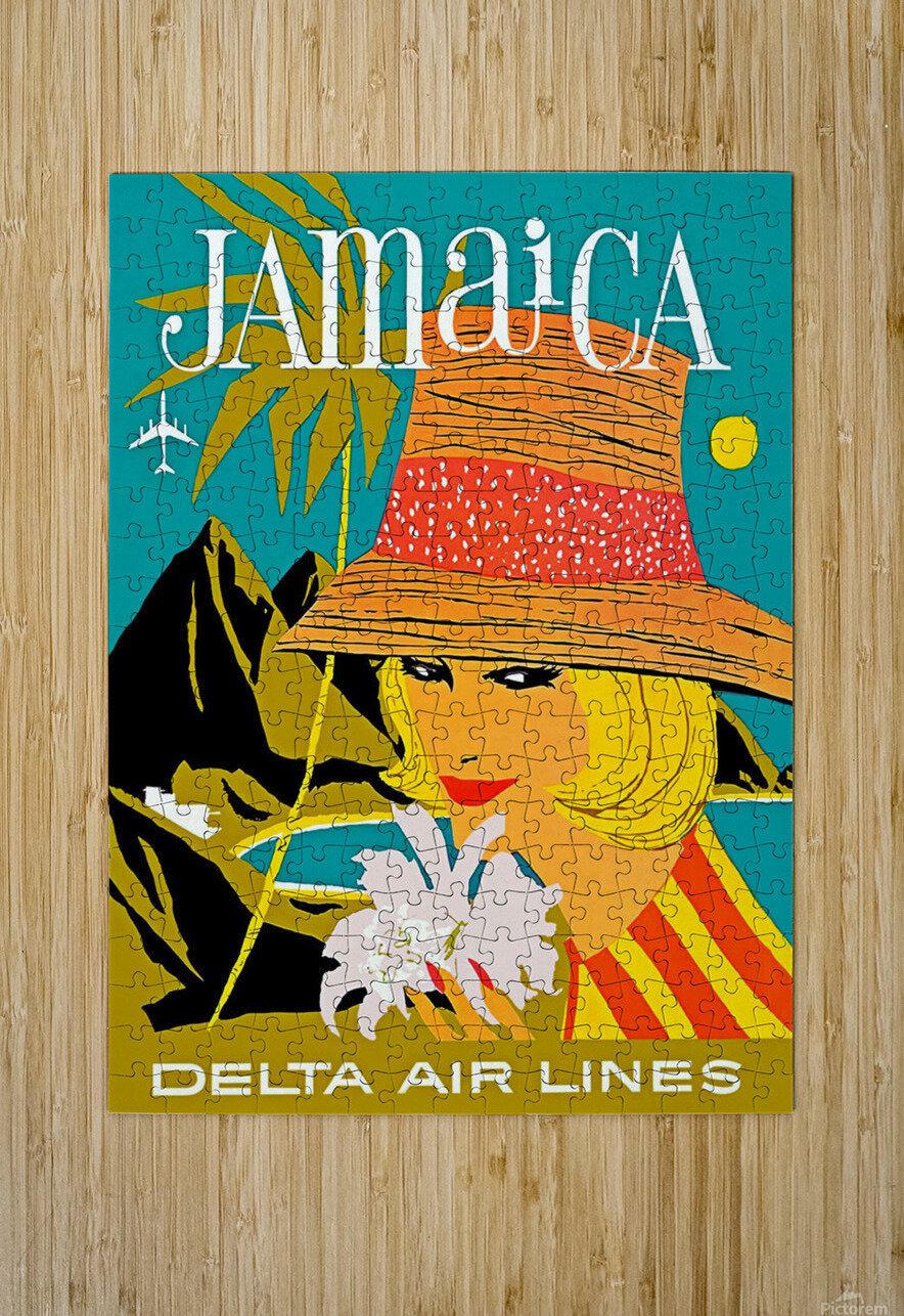 Vintage Jamaica Delta Airlines Poster  HD Metal print with Floating Frame on Back