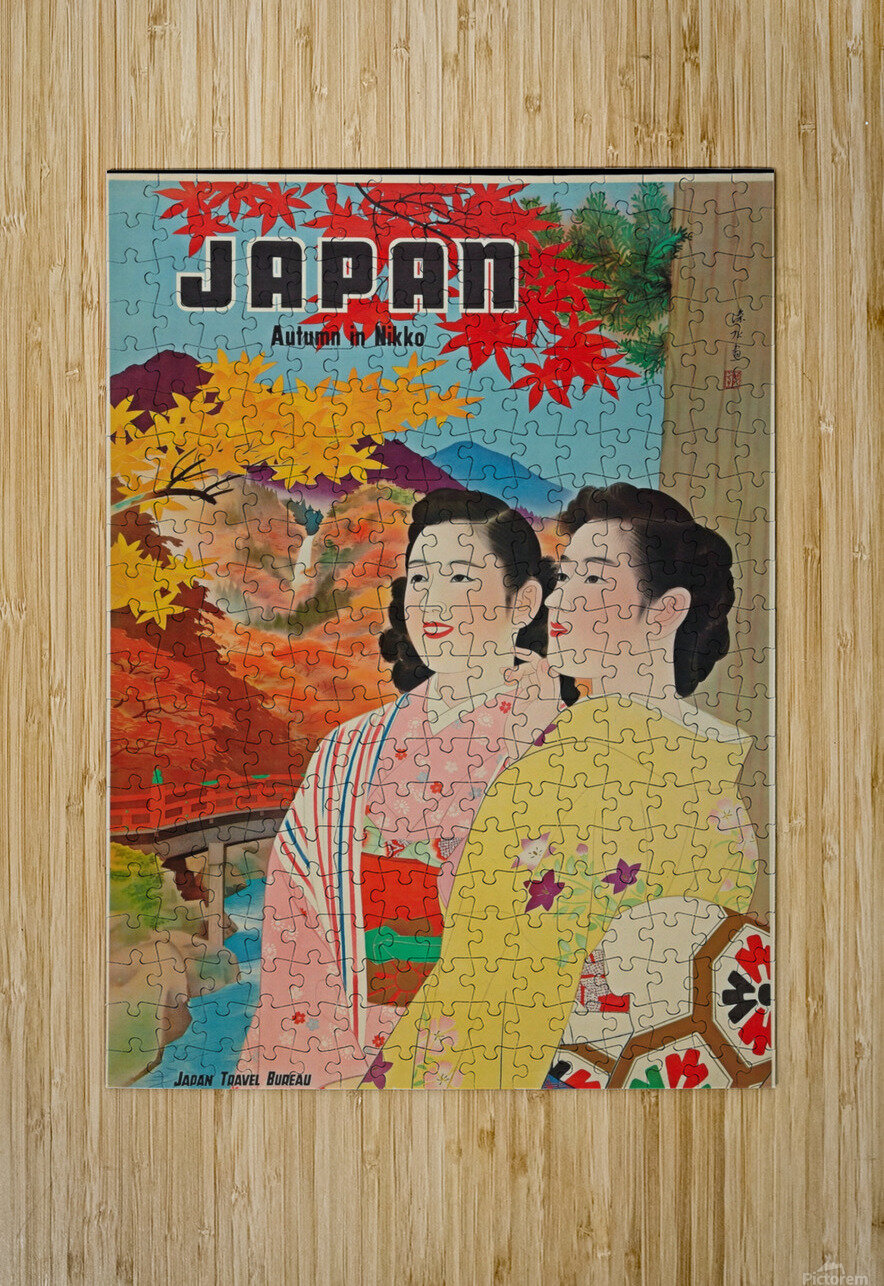 Japan Autumn in Nikko travel poster  HD Metal print with Floating Frame on Back