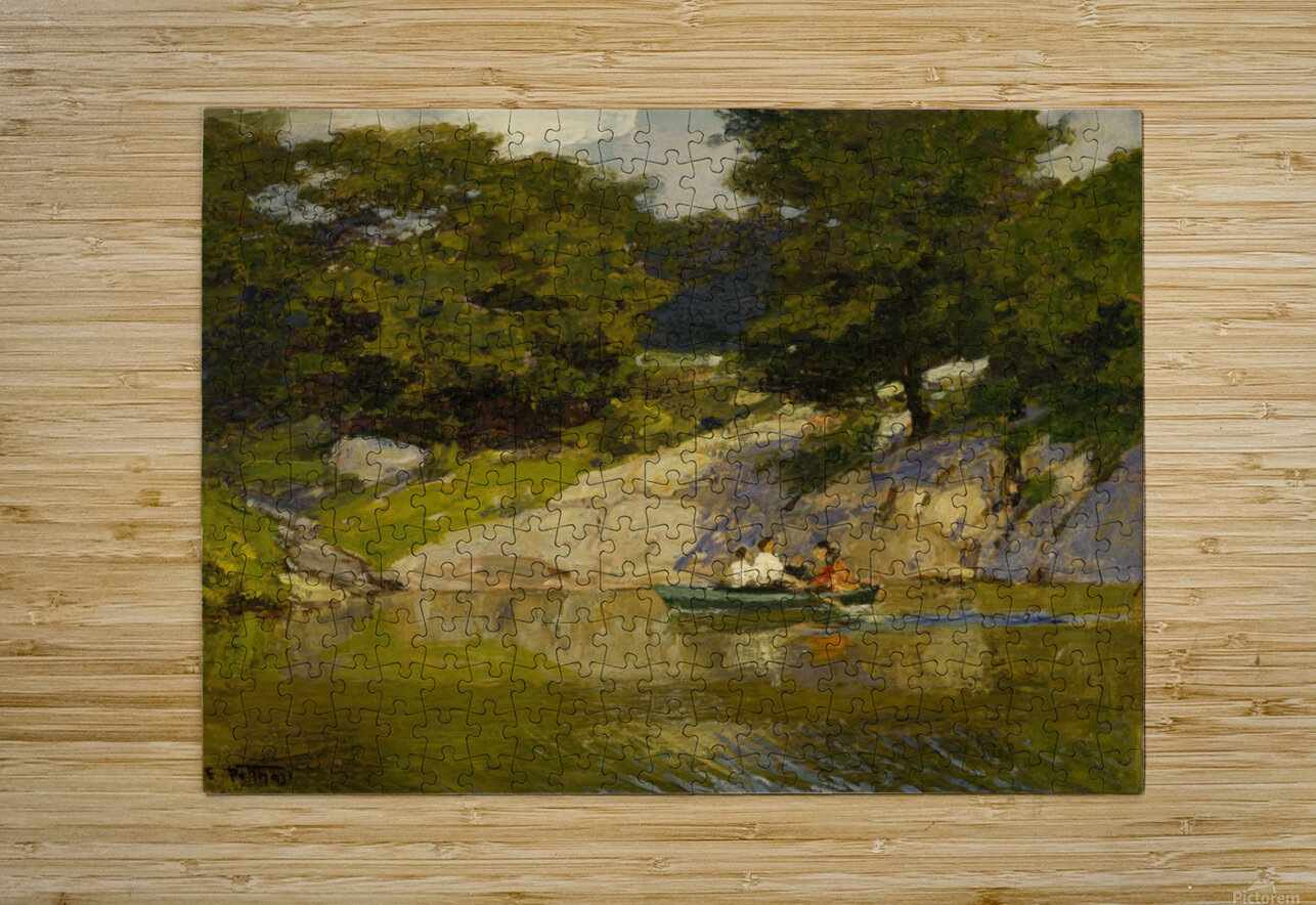 Boating in Central Park  HD Metal print with Floating Frame on Back
