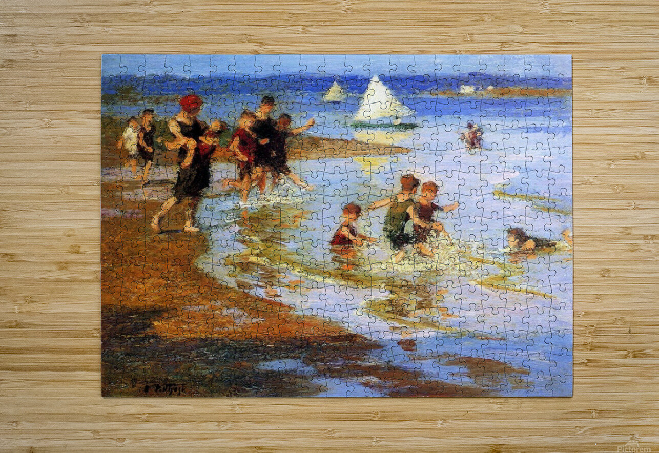Children at Play on the Beach  HD Metal print with Floating Frame on Back